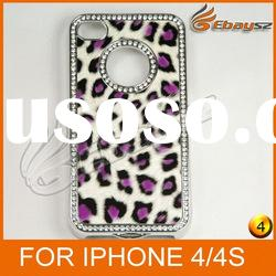 v-Free Shipping New Hot Luxury Diamond Leopard Case Cover For iPhone 4 4S LF-0416