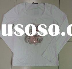 white beading long sleeve t shirts for lady with fashion printing
