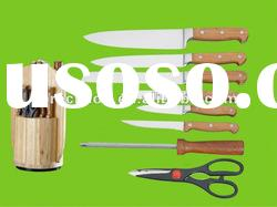 wood handle stainless steel kitchen knife set/kitchenware