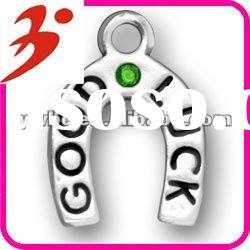znic alloy antisilver good luck with green crystal charms (185495)