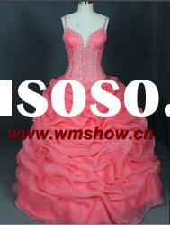 2012 Beautiful Spaghetti Strap Ball Gown Elegant Pink Prom Dress