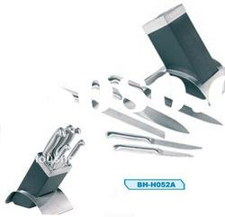 6pcs /set ,hollow handle , all steel kitchen knife set with block