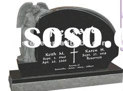 American style absolute black granite headstone with base
