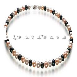 Black,pink and white freshwater pearl necklace