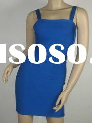 Dark Blue Slim Strap Lady Bandage Evening Dress PT095