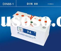 Dry charged car battery 12v 88ah (DIN88)