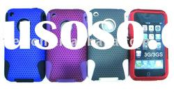 Mesh cambo case silicone +hole hard case For iphone 3g 3gs