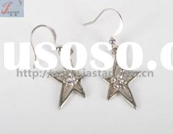 Silver star dangle earrings,small crystal earrings