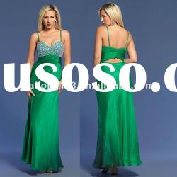 Spaghetti Strap Sequins Open Back Evening Dress 2012