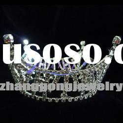 beauty design fully round rhinestone pageant crown