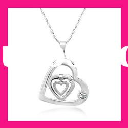 costume heart shaped pendant necklace women stainless steel jewelry set