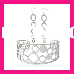fashion stainless steel cheap earring and bangle jewelry sets gifts for women