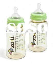 glass baby feeding bottle with nipple and cap