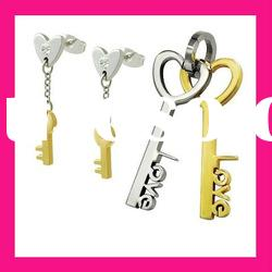 stainless steel big fashion key shape earring pendant jewelry set valentine gifts for women