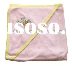 100% cotton terry embroidered playing boy baby hooded towel