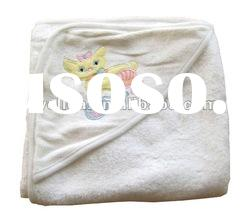 100% cotton terry embroidered playing kitty baby hooded towel