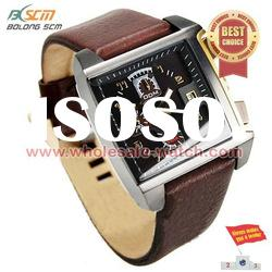 2012 stainless steel case brown band men watch