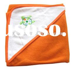 80% cotton fabric embroidered turtle baby hooded towel