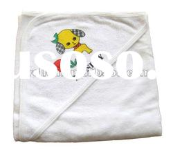 80% cotton terry embroidered dog baby hooded towel