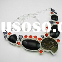 Ammonite Fossil jewelry 925 silver necklaces fashion jewelry set