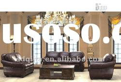 Antique American Style Leather Hotel Lobby Sofa Set