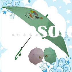 Cheap Promotional Custom Design Polyester Solid Color Cartoon Character Auto Stick Child Umbrella