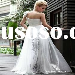 DORISQUEEN(DORIS) One Shoulder A-Line Tulle Ornaments Black And White Plus Size Bridal Dresses