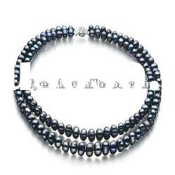 Double rows black freshwater pearl necklace