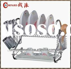 Dual layer Dish rack with Oval cutlery basket and cup holder