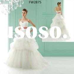 FW2875 2012 Strapless Floor Length Organza Sweetheart Bridal Gown