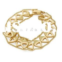 Fashion 18k gold plated copper chunky chain combination Bracelet