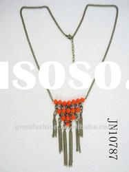 Fashion Hot Sale Long Charm Necklace with Alloy Tassels