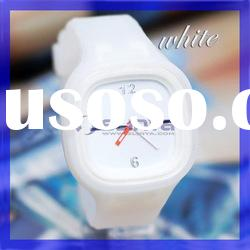 Fashion Jelly candy white color sport Silicone watch