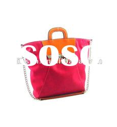 Fashion Tote Bag with Decorated Belt, Double Handles and Shoulder Chain
