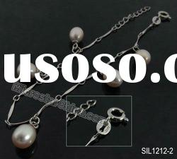 Fashion and popular 925 sterling silver charm bracelet with pearl jewelry approx 18-21cm long