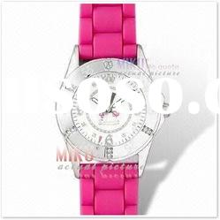 Fashion watch alloy case with silicon band,with various color for man and lady