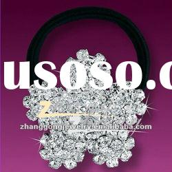 Flower design diamond hair band with elastic