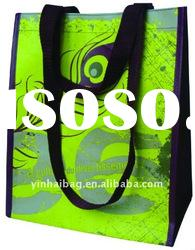 Green eco-friendly reusable folding laminated pp woven tote shopping bag