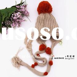 Knitting Wool Pompons Decoration Long Tassel Knitted Winter Hat