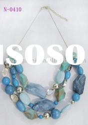 Newest charming vintage design handmade fashion blue beaded necklaces