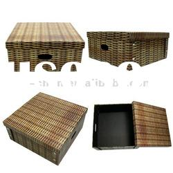 Rattan Pattern Foldable Cardboard Box for Storage