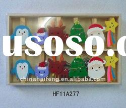 S/12 Christmas Mini Wooden Craft Clip Decoration