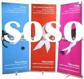 Single foot aluminium roll up stand banner