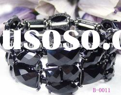 Stretch wide black diamond fashion costume bangle jewelry
