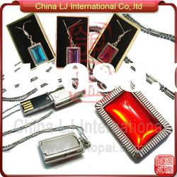 big crystal customize usb pen drive necklace, swivel diamond pendant usb flash drive