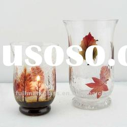 clear color hand painting hurrican glass candle holder with crackle