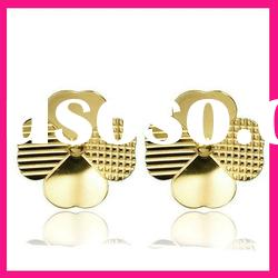 fashion gold leaf shape stud earrings trendy women jewelry