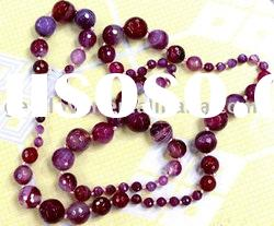 gemstone loose beads beaded agate necklace 19""