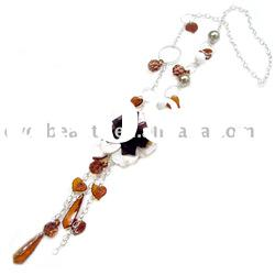 handmade arcyl & imitation pearl necklace with silk flower