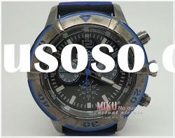 men watch with stainless steel case silicone band